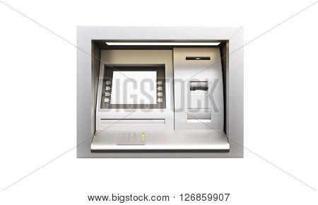 Built-in ATM machine with blank display isolated on white background. Mock up 3D Rendering