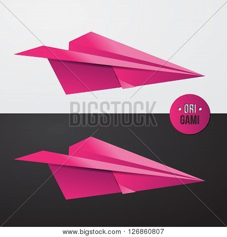Pink origamy Paper airplane. Vector illsutration for travel banner or identity design. Colorful style.