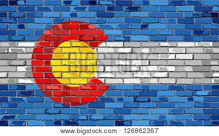 Flag of Colorado on a brick wall - Illustration, 