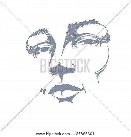 Hand-drawn Monochrome Portrait Of White-skin Flirting Woman, Face Emotions Theme Illustration. Beaut