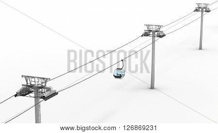Ropeway and lift isolated on white background. Top view. 3d rendering.