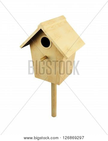 Wooden bird house on a pole isolated on a white background. 3d render image.