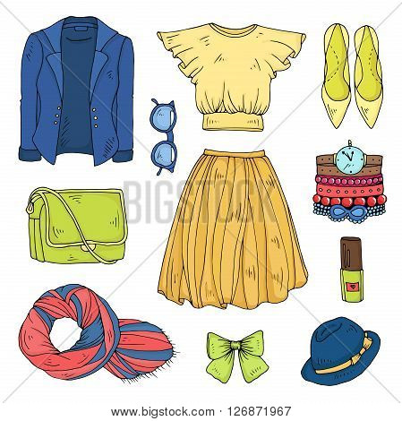 Vector drawn set of color spring fashion women's clothes.Various objects: jacket, stole, sun glasses, bag, yellow blouse, skirt, ribbon, green shoes, nail polish, bracelets and watches, hat with a bow.
