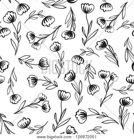 Seamless pattern with hand-drawn abstract flowers. Monochrome background for your design. Vektor illustration.