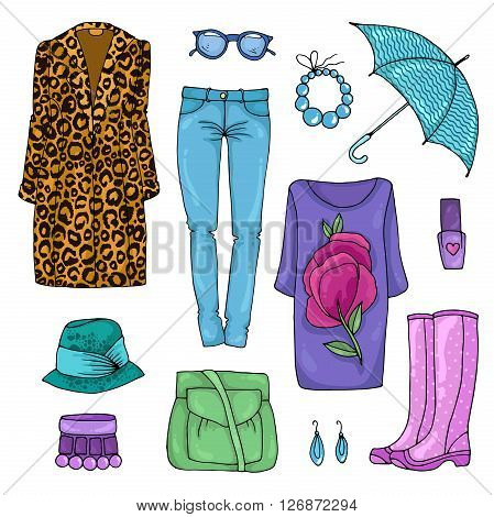 Vector drawing set of colorful spring fashion for rainy weather clothes. Rainy day. Various objects:leopard coat, jeans, bracelet, necklace, hat,bag, umbrella, pink rubber boots, earrings, nail polish poster