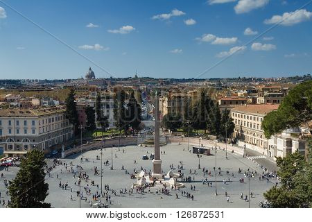Lookout above Piazza del Popolo Rome Italy