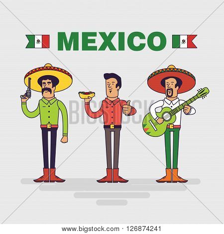 Mexican characters set. Mexican bandit man with burrito and mariachi singer. Linear flat design