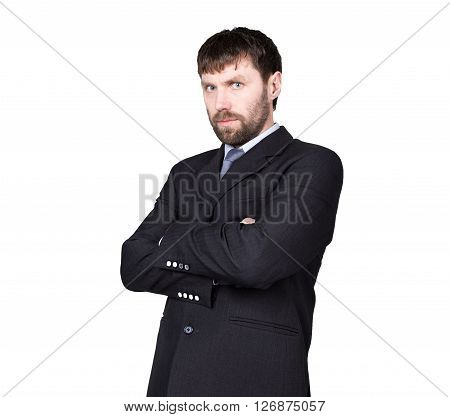 body language. man in business suit, gesture of arms and hands. standard gesture crossed arms. isolated white background. concept of true or false.