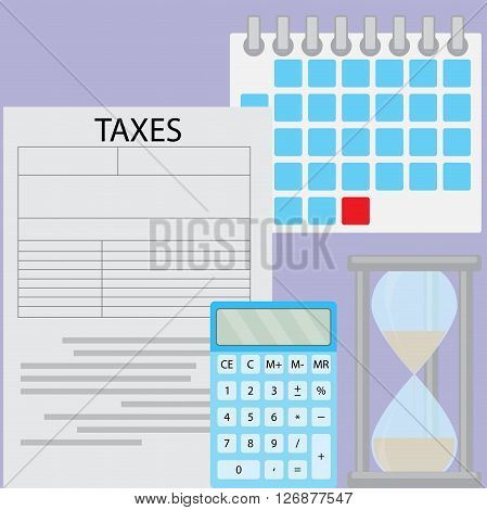 Tax day deadline. Document tax and time for pay and calculation tax calendar data and counting calculate budget. Vector flat design illustration