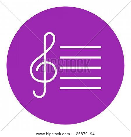 Treble clef line icon.