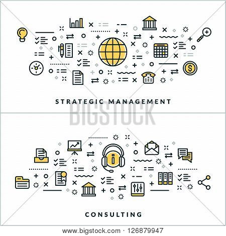 Vector Thin Line Strategic Management and Consulting Concepts. Vector Illustration for Website Banner or Header. Flat Line Icons and Design Elements