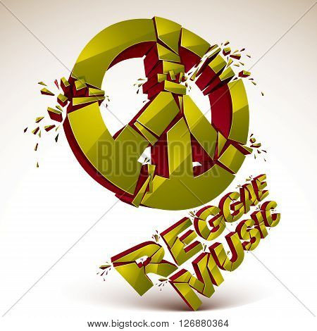 Green 3d vector shattered peace sign with specks and refractions. Dimensional facet design demolished symbol isolated on white. Reggae music theme