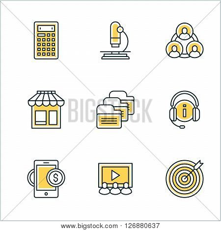 Thin Line Icon Set. Vector Icons for Website Mobile Application Infographics. Business Icon Set