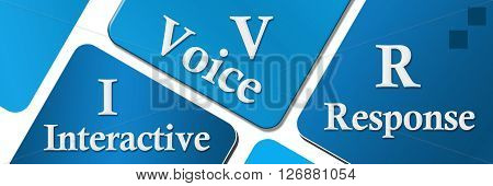 Interactive voice response text written over blue background.