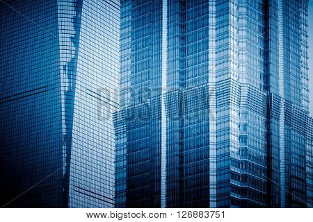 detail of Jinmao Tower,shanghai china,blue toned image.