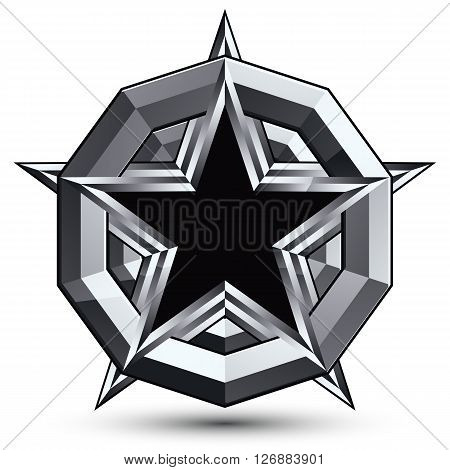 Sophisticated design geometric symbol stylized pentagonal black star placed on a round silver surface best for use in web and graphic design. Polished 3d vector icon isolated on white background.