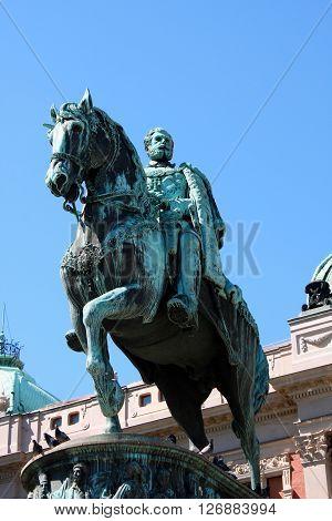 The Monument dedicated to Prince Mihailo Obrenovic Belgrade poster