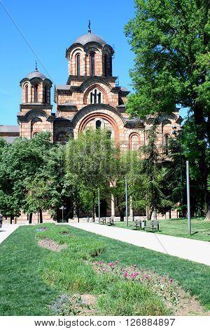 View of St. Mark Church from Tasmajdan Park in Belgrade poster