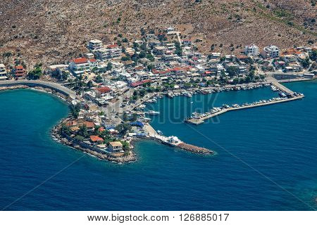 Aerial view of village and port of Pachi near Megara Athens Greece