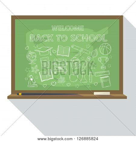 School board with doodle school icons and text back to  school.Vector School board icon flat style.School board isolated.Blackboard icon with school sign, symbol hand draw set