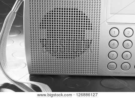 Speaker on the front of a portable shortwave radio