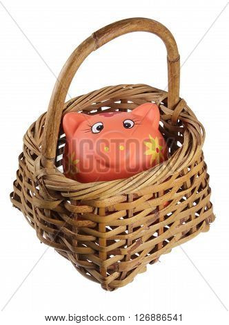 Piggy  Bank and Basket on Isolated White Background