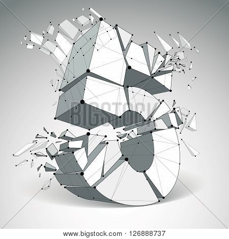 3d vector digital wireframe number 5 broken into different particles geometric polygonal numeration with lines mesh. Low poly shattered typescript lattice element.