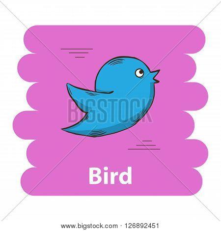 Bird icon.Cute cartoon bird vector illustration.Cartoon animal bird  isolated on background.Blue bird  animal.Cute bird vector illustration.Abstract  bird character
