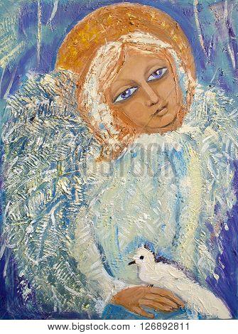 Angel with bird. Original acrylic painting on canvas.