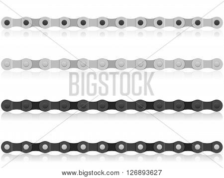 Bike chain on a white background. Vector illustration.