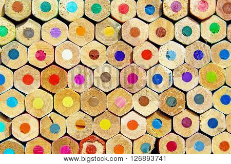 Texture rear some pencils stacked hexagonal colors.