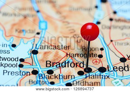 Bradford pinned on a map of UK
