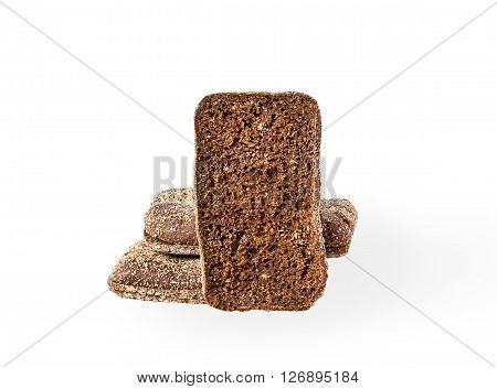 pieces of rye bread on white background, selective focus with shadow
