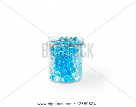 glass vase with hydrogel isolated on white background with shadow