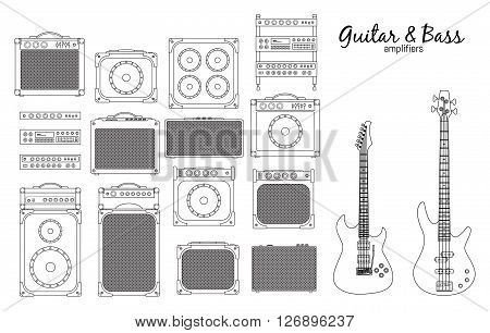 Set of amplifiers for rock electric guitars and bass guitars for concerts and festivals outlined and in black and white