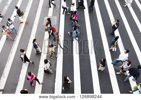 TAIPEI TAIWAN 22 MARCH 2014: Zebra pedestrian walking through the streets of Taipei on the road 22 MARCH 2014 in taipeitaiwan
