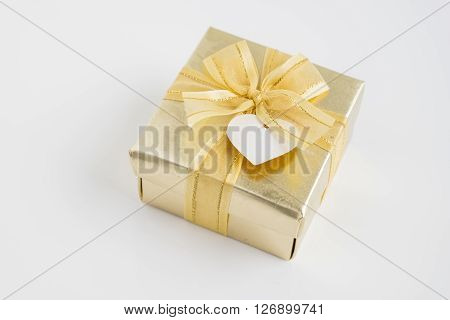 Gold gift box - present object on white background