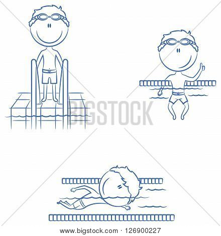 Cute vector swimmer boys in different situations: in the pool swimming in the pool resting on swimming pool dividing line standing near the stairs to the pool