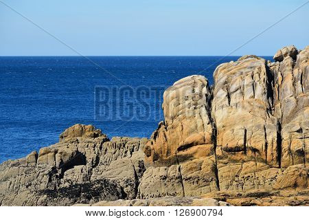 Large Sandstone Cliffs On French Coast In Brittany, Bretagne