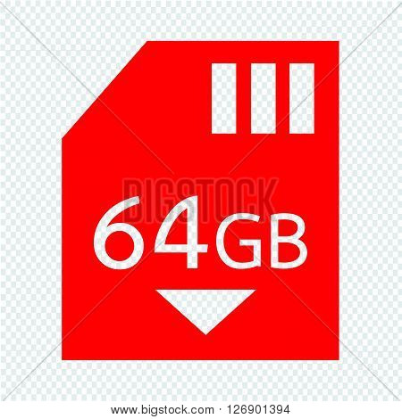 Memory Card 64 Gb icon Illustration design