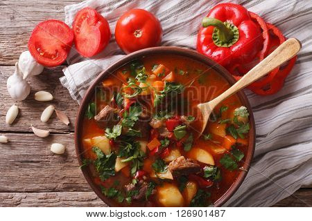 Hungarian Goulash Soup Bograch Close-up. Horizontal Top View