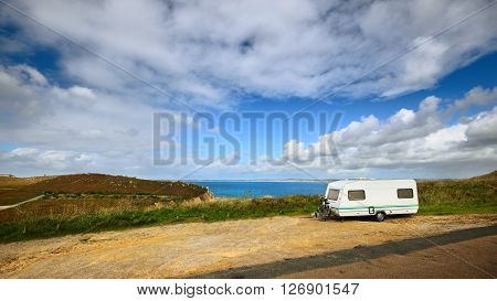 Caravan Trailer At The Cliffs Of Anse De Camaret Celtic Sea Bay In France