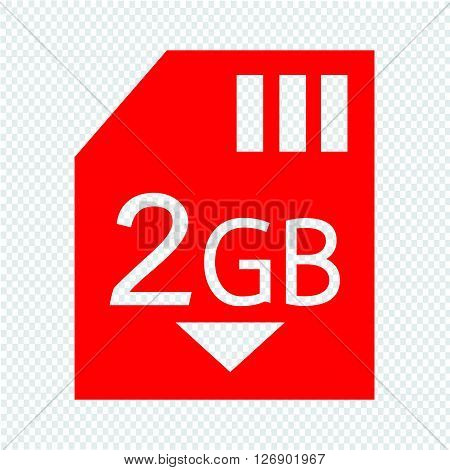 Memory Card 2 Gb icon Illustration design