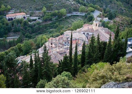 Rural scene of a little village in France Saint Agnes summertime