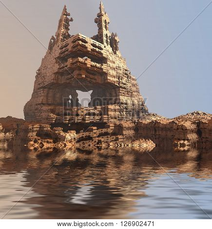 Computer rendered landscape envrionment with decayed castle reflected in water