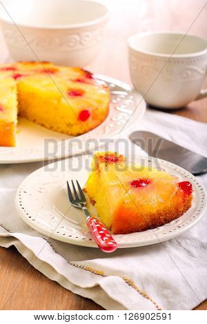 Pineapple upside down cake with cherry glace