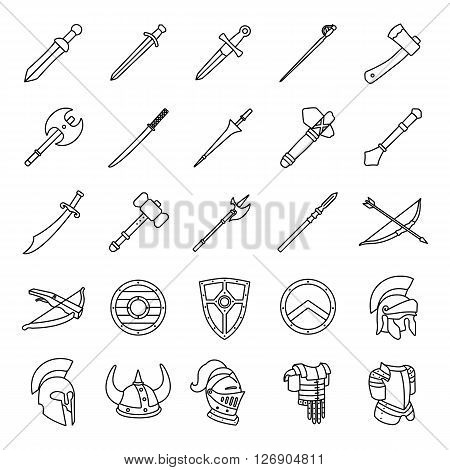Arms and Armor outlines vector icons collection