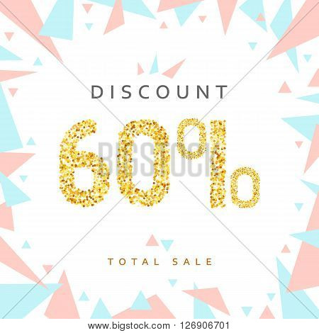 Discount 60. Discounts price tag. Golden discount. Black Friday. Clearance Sale. Discount coupon. Discount gold. Sale discount