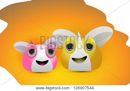 couple of cute character in pink and yellow collor illustration