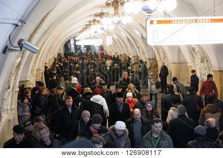MOSCOW - MARCH 3: People walking during rush hour at the Taganskaya metro station on March 3 2016 in Moscow. The station is named after the Taganka Square which is a major junction of the Sadovoye Koltso.